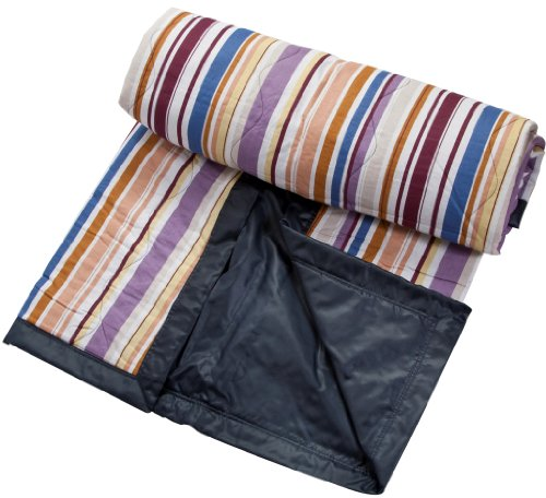 Clara Clark ® Waterproof Outdoor Beach Picnic Blanket, Multi Color Stripes