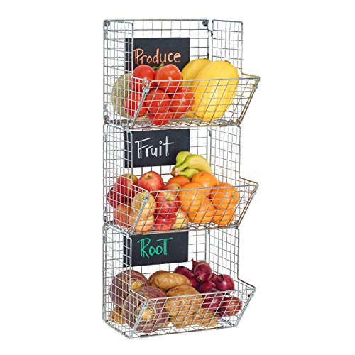 (Saratoga Home Premium 3-Tier Wall Mounted Hanging Wire Baskets With Chalkboards - Chrome - High-Grade Iron - Office, Art Supplies or Garage Storage - Fruit or Produce Rack - Industrial-Style Organizer )