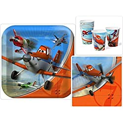 Disney Planes Birthday Party Supplies Pack Including Dinner Plates, Lunch Napkins and Cups for 16 Guests