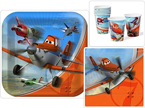 Disney Planes Birthday Party Supplies Pack Including Dinner Plates, Lunch Napkins and Cups for 16 Guests -