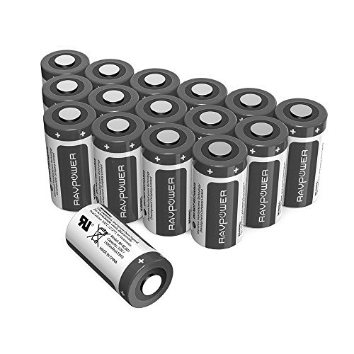 CR123A Lithium Batteries [Upgraded] RAVPower 3V Lithium Battery Non-Rechargeable, 16-Pack, 1500mAh Each, 10 Years of Shelf Life for Arlo Cameras, Polaroid, Flashlight, Microphones and More (Black)