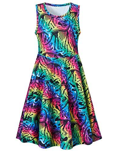 Goodstoworld 5T Dresses for Girls Dinosaur Dress Raibow Striped 4t Sleeveless Summer Dresses Casual Twirl Dresses Colorful Beach Hawaiian Holiday A-line Flared Skater Swing Dress Midi Skirts 4-5 Years ()