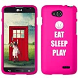 LG Optimus L90 D405 D410 D415 Snap On 2 Piece Rubber Hard Case Cover Eat Sleep Play Basketball (Hot Pink)