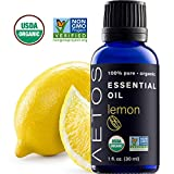 Aetos Organic Lemon Oil, USDA Certified Organic Essential Oils, Non GMO, 100% Pure, Natural, Therapeutic Grade Essential Oil, Best Aromatherapy Scented-Oils for Home, Office, Personal Oil Use - 1 Oz