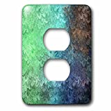 3dRose Uta Naumann Faux Glitter Pattern - Girly Trend Mint Teal Luxury Elegant Mermaid Scales Glitter Glamor - Light Switch Covers - 2 plug outlet cover (lsp_272871_6)