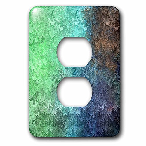 3dRose Uta Naumann Faux Glitter Pattern - Girly Trend Mint Teal Luxury Elegant Mermaid Scales Glitter Glamor - Light Switch Covers - 2 plug outlet cover (lsp_272871_6) by 3dRose