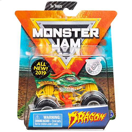 (Monster Jam 2019 Crazy Creatures Dragon 1:64 Scale Diecast Monster Truck With Figure and Poster by Spin)