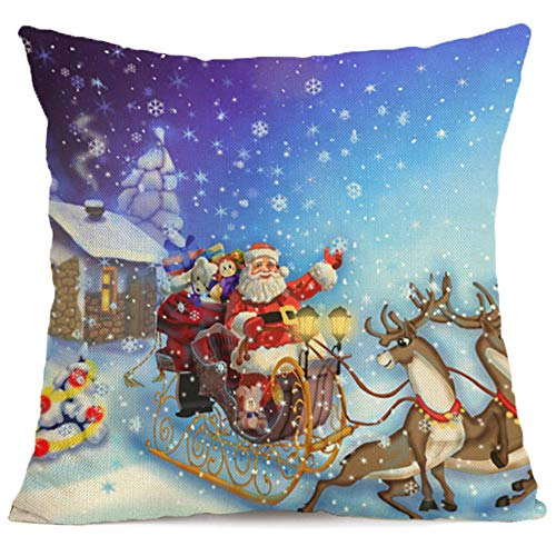 (Christmas Throw Pillow Cover Xmas Holiday Decor Pillowcase Cushion Cover Square Decorative Cotton-Linen Pillow Cover for Sofa Couch Bed and Car, 18