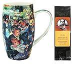 Renoir Dance At Le Moulin De La Gallette Latte Mug in a Matching Gift Box and 6 Tea Bags, Bundle 2 Items