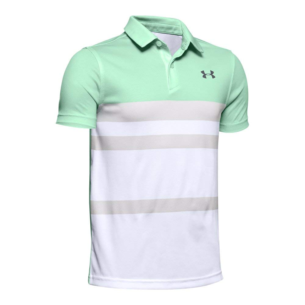 Under Armour Jordan Spieth 1st Major Saturday Polo, Aqua Foam//Pitch Gray, Youth X-Large by Under Armour