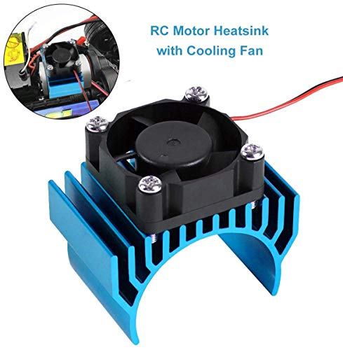 Innovateking Aluminum Heat Sink with 30mm 5V 0.1A Cooling Fan RC Motor Electric Heatsink for 1/8 1/10 RC Car 540 550 Size Motor (Light Blue)