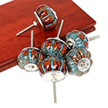 SunKni NEW PRODUCT Prime Quality Ceramic Knobs Handles Pulls for Kitchen Furniture Drawer Cabinet Dresser Closet Wardrobe Cupboard Vanities with Screws New Sets Pack of 6 (NO.1)
