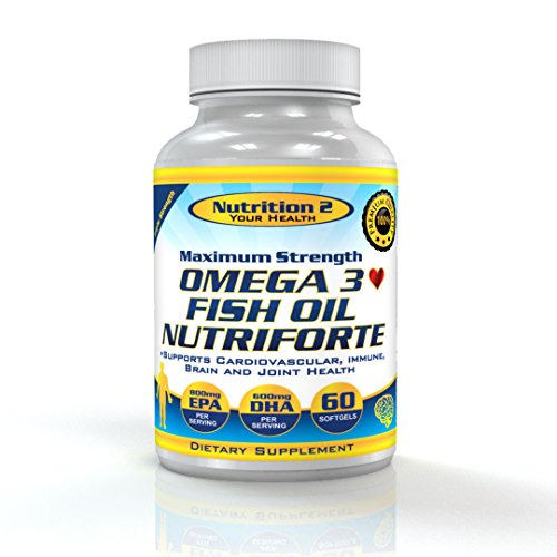 Omega 3 Poissons 2000mg d'huile - EPA DHA acides gras essentiels - Acides gras pur Omega 3 - Force Triple, distillation moléculaire d'huile de poisson - très concentré Omega 3 Formula - meilleurs suppléments d'huile de poisson pilules -2000mg de Total Oil