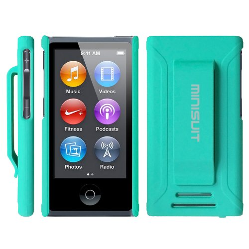 Minisuit JAZZ Slim Shell Case with Belt Clip + Screen Protector for iPod Nano 7 or 8 / 7th or 8th Gen (Rubberized Green)
