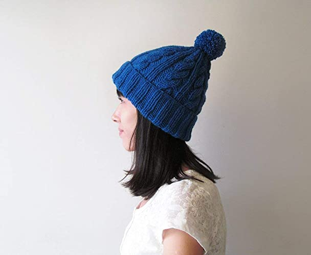 163062d3 Amazon.com: Cable Knit Hat in Royal Blue, Hand Knit Beanie with ...