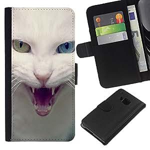 EJOY---La carpeta del tirón la caja de cuero de alta calidad de la PU Caso protector / HTC One M7 / --Blanco Azul Gato Verde Ojo enojado