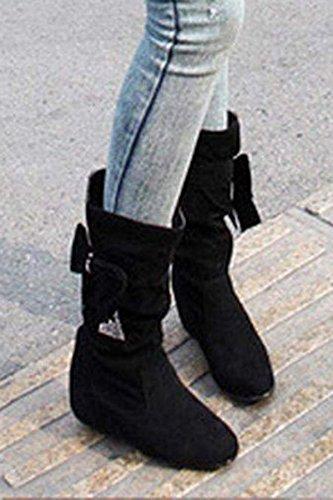 TOOGOO (R)Damen mode mittlere hoch flach Schleife Slouch Stiefel schwarz 36