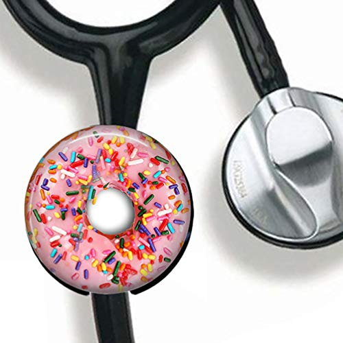 Name Donut - Donut Stethoscope Tag Personalized,Nurse Doctor Stethoscope ID Tag Customized, Medical Stethoscope Name Tag with Writable Surface-Black