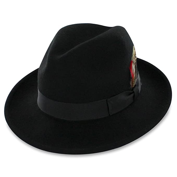 1920s Men's Costumes: Gatsby, Gangster, Peaky Blinders, Mobster, Mafia Belfry Bogart Fedora in Black or Navy $39.00 AT vintagedancer.com
