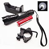 ilily CREE XML T6 1000 Lumens LM White Camp Hike Bike LED Torch Flashlight Tactical Flash Lights Lamp+1*18650 Rechargeable Battery+ Universal Battery Charger+ Rifle Gun Mount