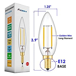 Hizashi Fully Dimmable 2W LED Candelabra Bulb 2700K Warm White, 20W 25W Equivalent 200 Lumen E12 Base LED Candelabra Bulbs, B10 Clear Glass Torpedo Shape Bullet Top, 360 Degrees Beam Angle, 12 Pack