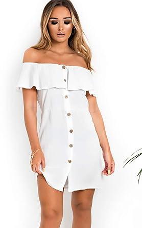 e9b5c2ad375 Ikrush Womens Vivi Off Shoulder Button Up Dress White  Amazon.co.uk ...