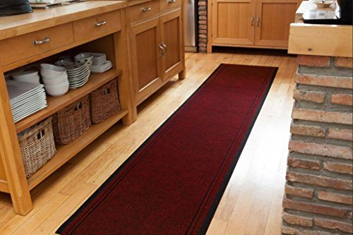 Extra Long Non Skid Red Hallway Entance Runner Mats - Sold And Priced By The Foot - 2ft 2