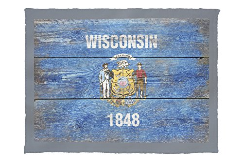 (Lantern Press Rustic Wisconsin State Flag 52579 (60x80 Poly Fleece Thick Plush Blanket))