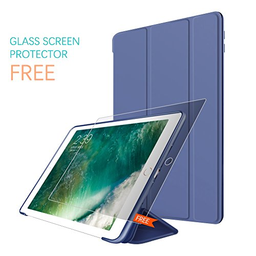 New iPad 2017 iPad 9.7 Inch Case,Ultra Slim Lightweight Smart Case Trifold Cover Stand with Flexible Soft TPU Back Cover for iPad Apple New iPad 9.7-inch [Auto Sleep/Wake] - Navy Blue by NOKBABO