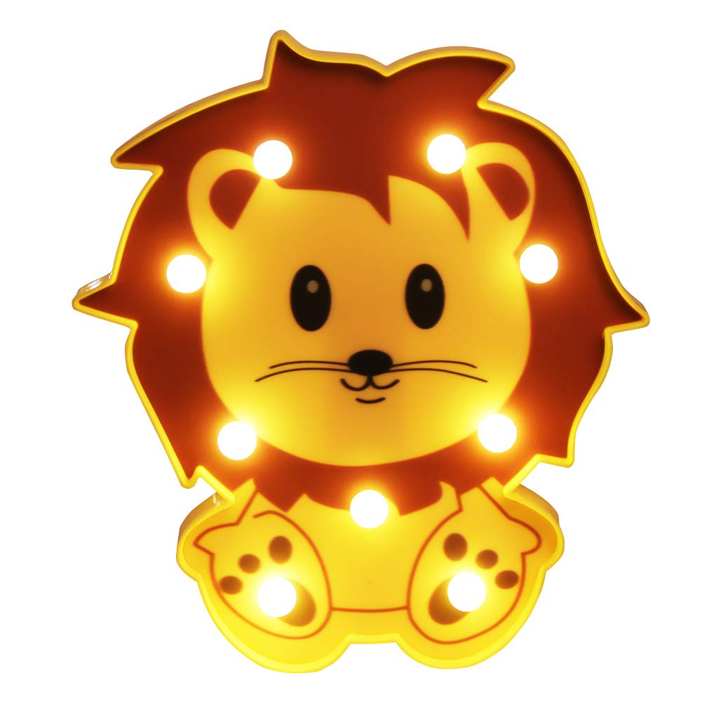 WHATOOK 3D Lion Animal Night Light Marquee Letter Sign Wall Light, LED Table Desk Lamp Bedsides Lamp for Children Gifts Christmas Home Party Decorative (Lion)
