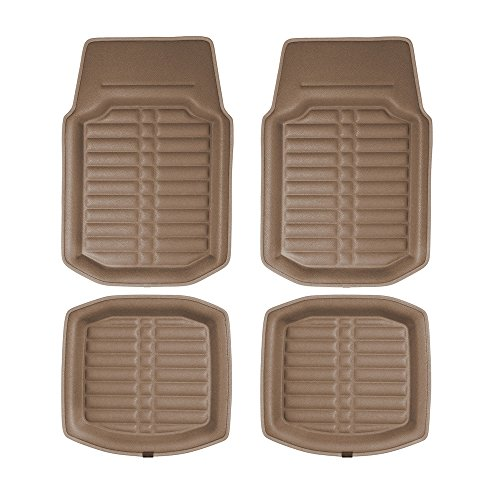 FH GROUP FH-F14409 3D Faux leather floor liners, Solid Brown Color