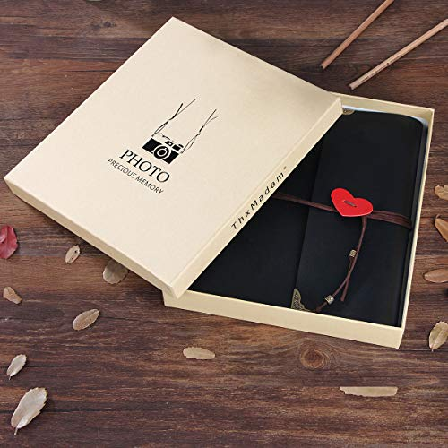 THXMADAM Scrapbook Photo Album Leather Guest Book DIY Wedding Memory Book  with 60 Refill Pages Present for Valentines Anniversary Day Birthday