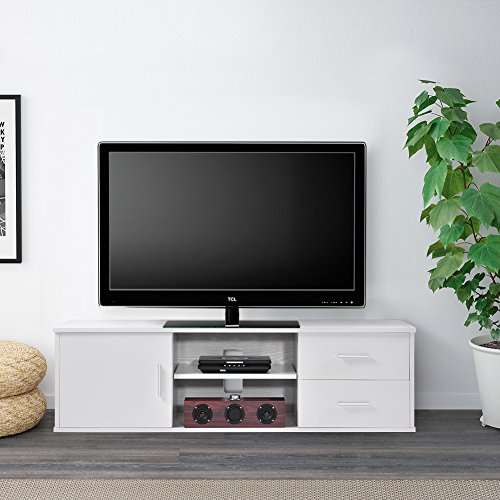 Wooden Single-door TV Stand TV Unit Storage Console with two Drawer, White (Tv 50 White)