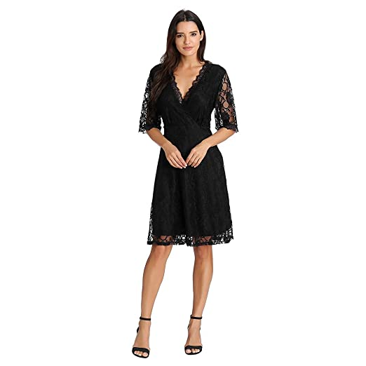 KASAAS Sexy Deep V Neck Lace Swing Dress for Women Half Sleeve Knee Length  Loose Party Mini Dresses at Amazon Women s Clothing store  00c312d0b