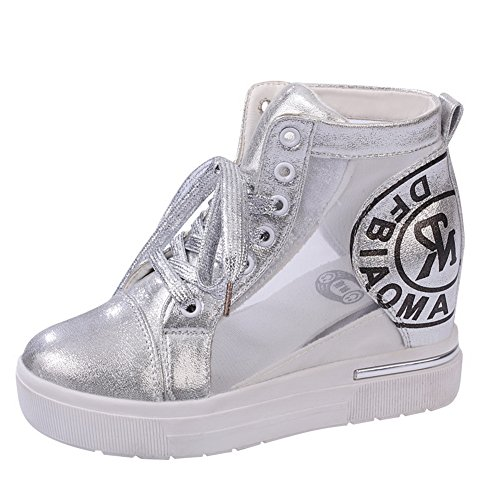 Imitated Preppy Cone Shape AdeeSu Boots Fashion Inside Heel Leather Heighten Womens Style Silver q6xzzgnawU