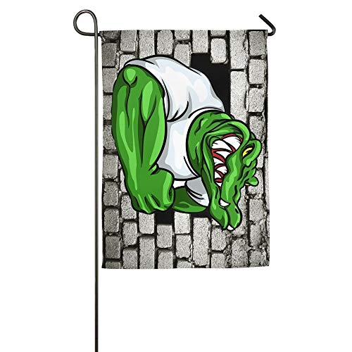 HUVATT Strong Crocodile.JPG Garden Flag Indoor & Outdoor Decorative Flags for Parade Sports Game Family Party Wall Banner 28x40 -