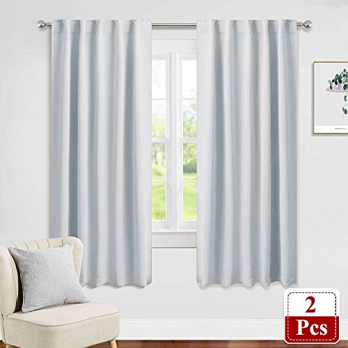 PONY DANCE Window Curtain Panels - Room Darkening Energy Saving Curtains for Kitchen/Bedroom with Back Tab Home Decor, 42 Wide by 63 inch Long, Greyish White, 2 Pieces