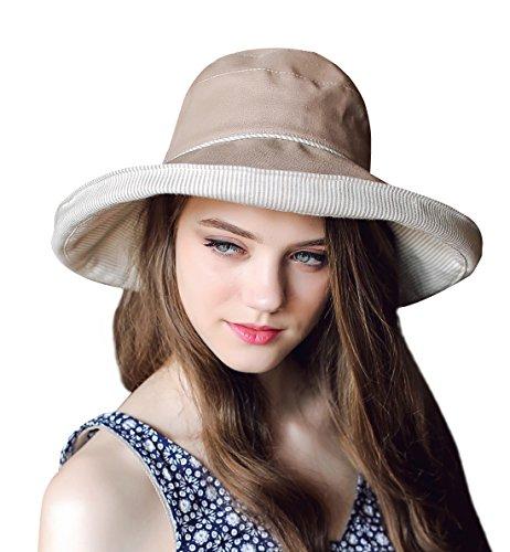 Home Prefer Women's Cotton Essential Summer Hat Fold up Wide Brim Sun Bucket Hat UPF 50+ Fishing Hat Beach Sun Hat with Stripes Khaki