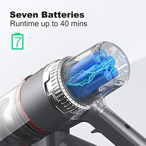 Aspirateur balai sans fil JASHEN V16, 25.2V, 4 en 1 Aspirateur Puissant 22000Pa, Jusqu\'à 40 Min d\'autonomie, Ecran LED Intelligent, 3 Vitesses, Multifonction.