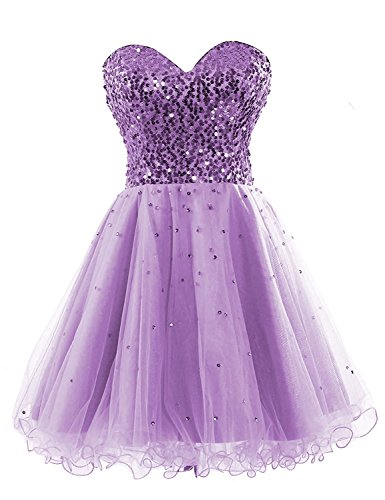 Short Tulle Sequin Prom Party Dress for Sweet 16 Pageants Cocktail Gowns Lilac US12 ()