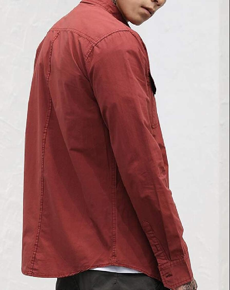 Hajotrawa Mens Casual Lapel Long Sleeve Pure Colour Button Down Shirts