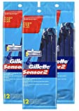 Gillette Sensor2 Fixed Men's Disposable Razor, 12