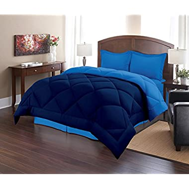 Sweet Home Collection 3 Piece Reversible Polyester Microfiber Goose Down Alternative Comforter Set with Pillow Shams, King, Navy/Regatta