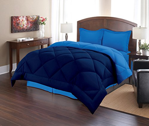 Sweet Home Collection 3 Piece Reversible Polyester Microfiber Goose Down Alternative Comforter Set with Pillow Shams, Full/Queen, Navy/Regatta