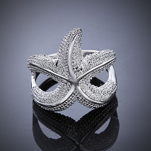 Special Design Starfish Ring 925 Silver Ring Fashion Jewelry Ring Women Men Finger Rings US Size 7 8 PCR538