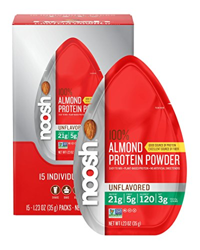 NOOSH Almond Protein Powder (Unflavored, 15 Count Single Serve) - Vegan, All Natural, 21g of protein per serving - Powder Almond