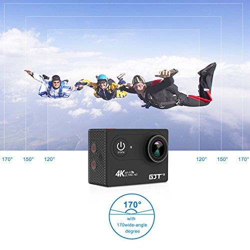 GJT GP1R 4K Sports Action Camera Portable Package,12MP Ultra HD WiFi 30M Waterproof DV Camcorder 2 Inch LCD Screen, 170 Degree Wide Angle Lens,2.4Ghz Remote Control, 2x1350mAh Batteries