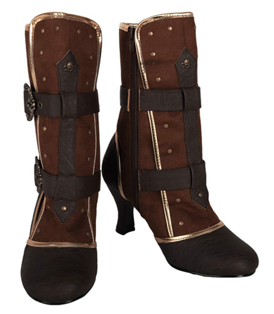 Steampunk Cosplay Vintage Style Victorian Queen Joan of Arc Halloween Costume Boots 5