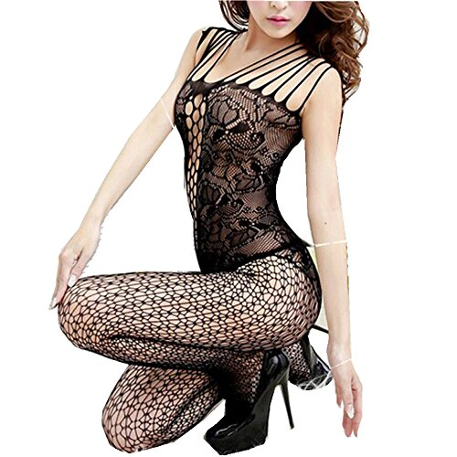 New Arrival!WYTong Sexy Women Open Crotch Bodystocking Lingerie Mesh Fishnet Babydoll For Sex (Black, Free ()