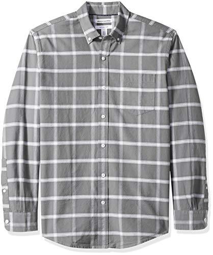 Amazon Essentials Men's Regular-Fit Long-Sleeve Windowpane Pocket Oxford Shirt, Grey, X-Large
